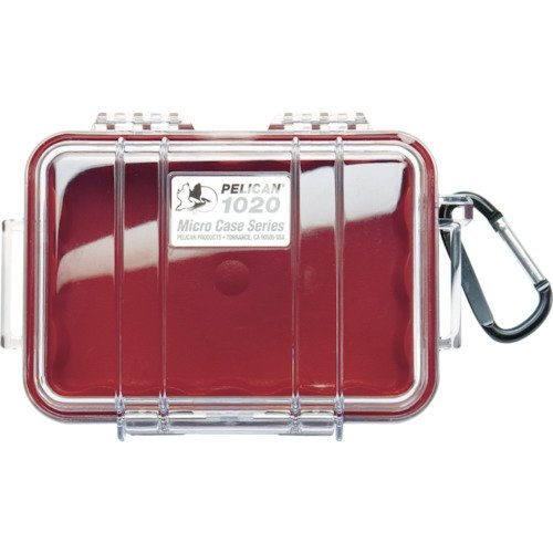 Waterproof Case | Pelican 1020 Micro Case - for GoPro, camera, and more (Red/Clear)