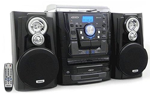 Jensen All-In-One Hi-Fi Stereo CD Player Turntable & Digital AM/FM Radio Tuner Tape Cassette Player Mega Bass Reflex Stereo Sound System