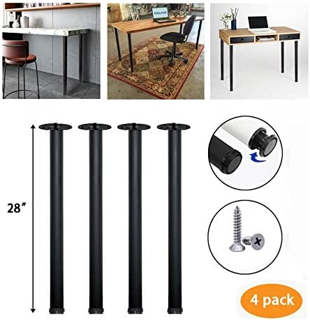-White Kullavik 28 Inch Height Metal Heavy Duty Furniture Legs,Adjustable Durable Legs for Office Desk,Coffee Table,Kitchen Table,2 Inch Diameter Set of 4