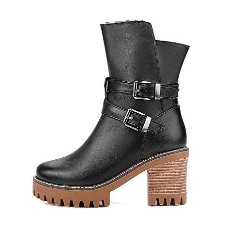 AgooLar Damen Weiches Material Reißverschluss Rund Zehe Hoher Absatz Niedrig-Spitze Stiefel, Braun, 37
