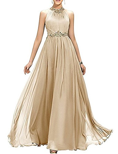 YIRENWANSHA 2019 A Line Long Retro Sash Belt Evening Dress for Women Ruffle Formal Prom Party Robes Cocktail Empire Waist Female Gowns EV147 Champagne Size 22W