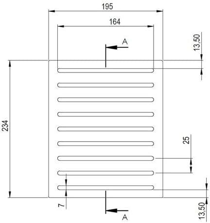 Grille en fonte chute cendres et wrapping chemin/ées et po/êles mesures 23,8/x 18,8/cm