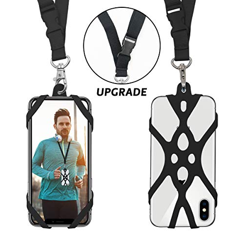Lanyard Neck Holder - 2 in 1 Cell Phone Lanyard Rocontrip Strap Case Holder with Detachable Neckstrap Universal for Smartphone iPhone 8,7 6S iPhone 6S Plus,Samsung Galaxy Google Pixel 4.7-5.5 inch (Black)
