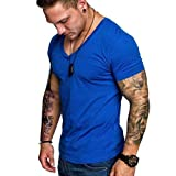 Men's T-Shirts Casual Slim Fit Short Sleeve V Neck Solid Color Sexy Shirt Top Blouse (XL, Blue)