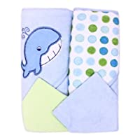 Spasilk Hooded Terry Bath Towel with Washcloths, Whale Blue, 2-Count