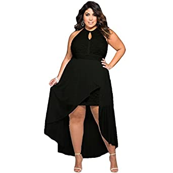 Sugarwewe Stylish Black Halter Lace Special Occasion Plus