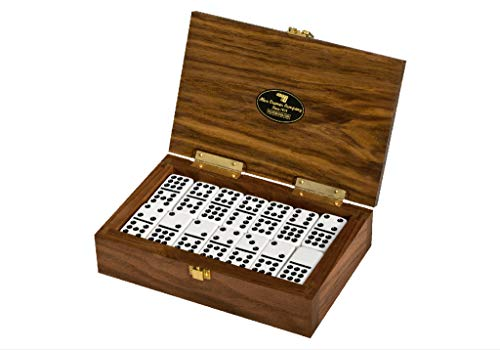 Alex Cramer Special Introductory Price Exclusive Double-9 Domino Set. American-Made Solid Walnut case Holds Our 55-Piece Set of Dominoes. Each case has Unique Wood Grain.