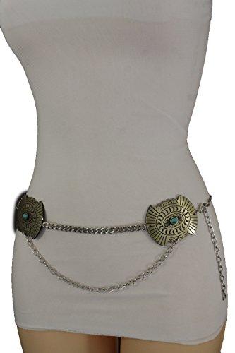 [TFJ Women Fashion Metal Concho Charms Belt Hip Waist Ethnic Boho M L XL] (Silver Concho Belt)