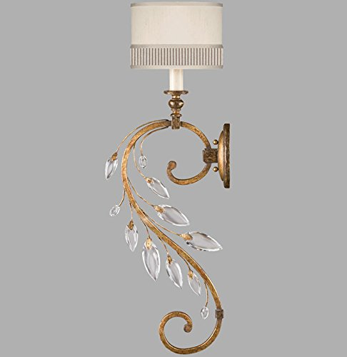 Crystal Gold Laurel Chandelier (Fine Art Lamps 774850, Crystal Laurel Candle Torchiere Wall Sconce Lighting, 1 Light, 60 Watts, Gold)