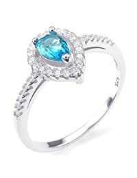 Konov Jewelry 925 Sterling Silver Cubic Zirconia Classic Heart Womens Ring, Blue Silver