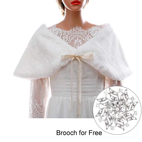 CanB Women's 1920s Faux Fur Shawl Bridal Wedding Fur Wraps and Bolero Shrug Faux Mink Stole for Women and Girls (White)