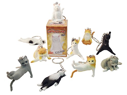 Clever Idiots Meowditation Cat Keychain - Blind Box Includes 1 of 10 Collectable Figurines - Features a Detachable Keyring - Authentic Japanese Design - Durable - Kitty Cafe Cat