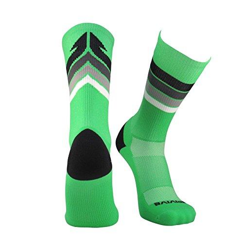 Custom Football Costumes (Epivive Retro Refresh Basketball Crossfit Lacrosse Socks (Green/Black, Large))