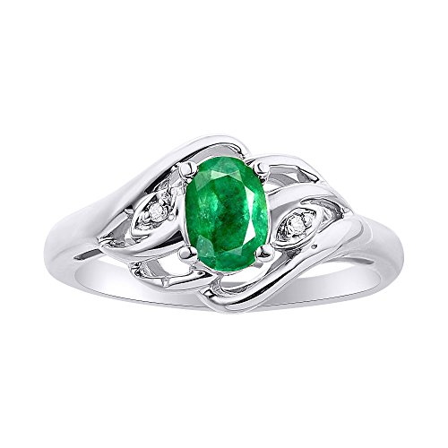 Diamond & Emerald Ring Set In 14K White Gold Birthstone by Rylos