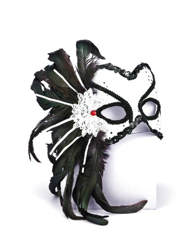 Forum Novelties Women's Karneval Style Half Mask with Feathers, Silver/Black, One Size