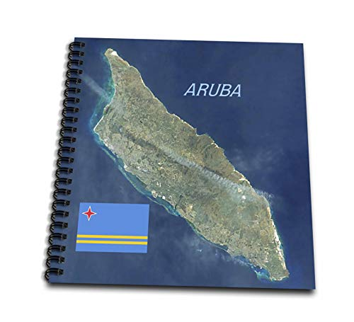 3dRose Lens Art by Florene - Topo Maps and Flags - Image of Aerial Topo View with Flag of Aruba - Drawing Book 8 x 8 inch (db_306862_1)