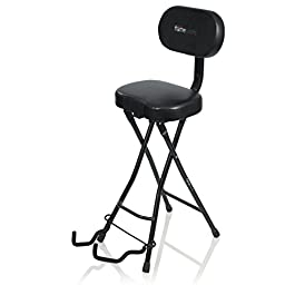 Gator Frameworks Guitar Seat with Padded Cushion, Ergonomic Backrest and Fold Out Guitar Stand; Holds both Acoustic and…