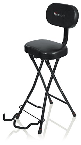 Stool Seat Finish - Gator Frameworks Guitar Seat with Padded Cushion, Ergonomic Backrest and Fold Out Guitar Stand; Holds both Acoustic and Electric Guitars (GFW-GTR-SEAT)