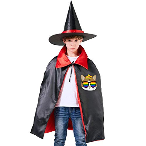 Wodehous Adonis Mexico Cat With Gay Pride Sunglass Kids Halloween Costumes Black Cloak With Witch Hat -
