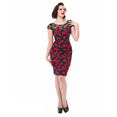 amp; Vestito Pizzo London 1950s Spalla Hearts Roses Ciliegia Rétro Vintage Aderente RaqBW6w