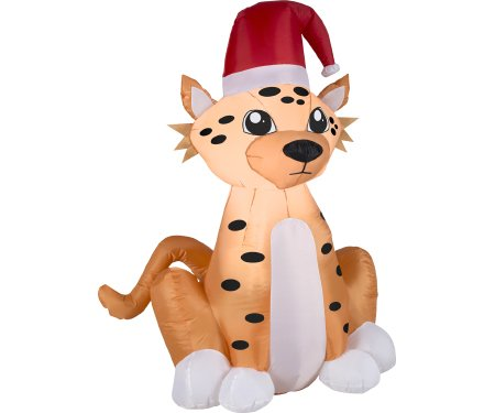 Exceptionnel Gemmy Airblown Cheetah With Santa Hat Inflatable