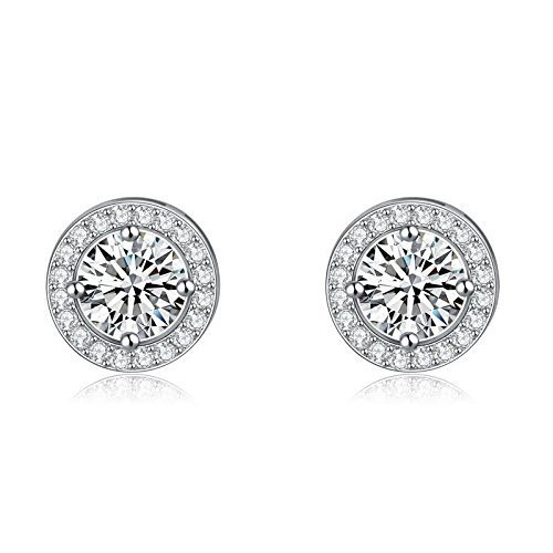 Sterling Silver Platinum Plated CZ Round Halo Stud Earring 925 BRAND NEW Quality ()
