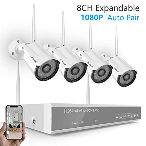 [2019 New] Security Camera System Wireless,Safevant 8CH 1080P