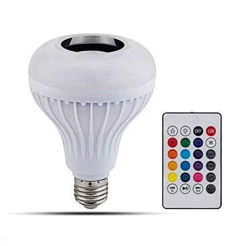 PaddSun LED Light Bulb with Integrated Bluetooth Speaker, 6W E27 RGB Changing Lamp Wireless Stereo Audio with 24 Keys Remote Control
