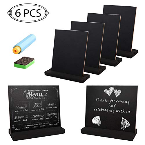 - Aytai 6pcs Mini Tabletop Chalkboard Signs with Stands, Double-Side Wooden Chalk Board for Wedding Baby Shower Decorations as Table Number Meanue Message Board