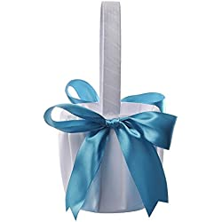 Flower Girl Basket Wedding Collection Traditional White (Blue)