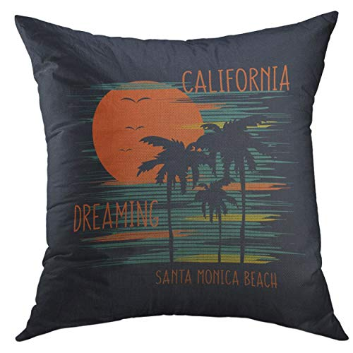 Mugod Pillow Cover Text on The of Surfing Surf in Santa Monica Beach Slogan California Dreaming Graphics Ocean Home Decorative Square Throw Pillow Cushion Cover 16x16 Inch Pillowcase