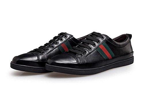 Männer Lace-Up Flats Oxford Casual Leder Schuhe Skateboard Sommer Breathable Leder Schuhe 38-47 Größe Schwarz , black , 46
