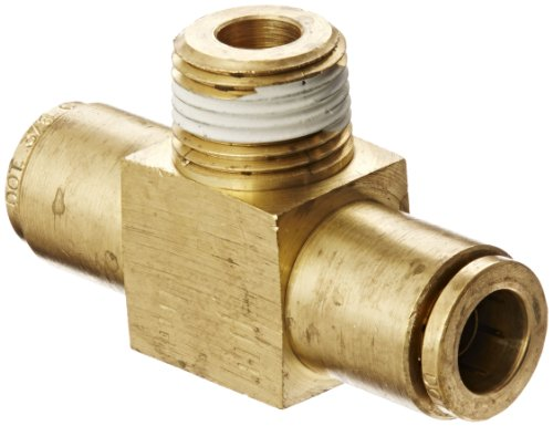 0.375' Brass Tee - Eaton Weatherhead 1872X6X6 Brass CA360 D.O.T. Air Brake Tube Fitting, Branch Tee, 3/8