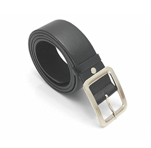 Rukiwa Men's Casual Clasic Stylish Faux Leather Belt Buckle Waist Strap Belts (Black) - Square Buckle Belt