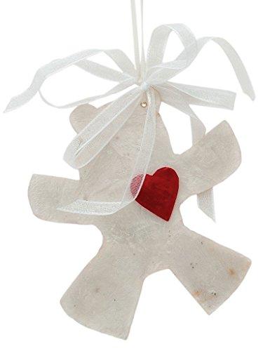 (Kouboo, Holiday Tree Ornament - Bear with Heart in Natural Capiz Seashell, Set 2)