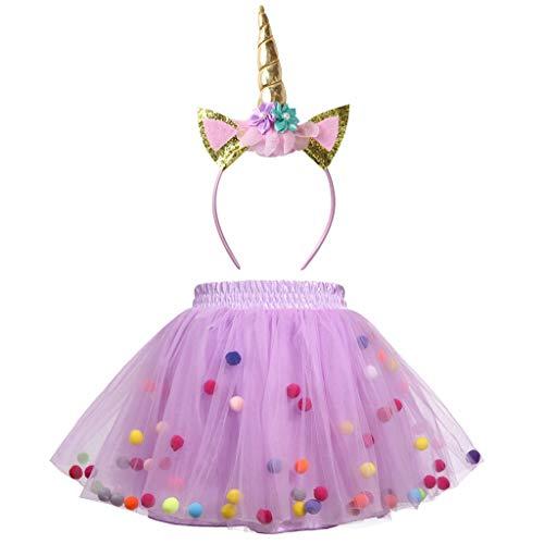 Meeyou Little Girls' 3 Layers Tutu Skirt with 3D Pom Pom Puff Balls (3T/4T, Purple Tutu with Unicorn -