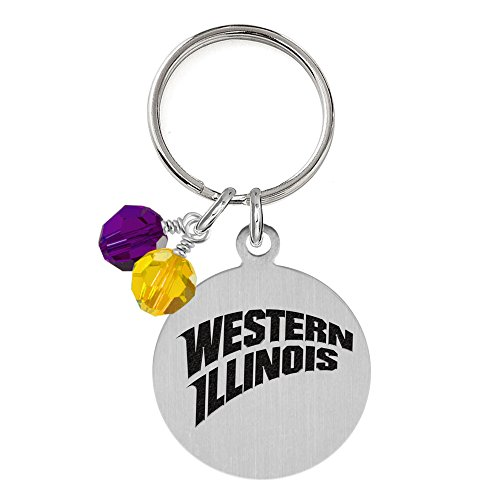 Western Illinois Leathernecks Dog Tag with Crystals | Pet Tag | Small Size | Cat Tag | College Pet Tags