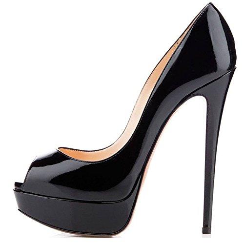 15CM Donna Scarpe nero Peep Scarpe da Scarpe elashe con Classiche Plateau Tacco col Toe H6Bnw