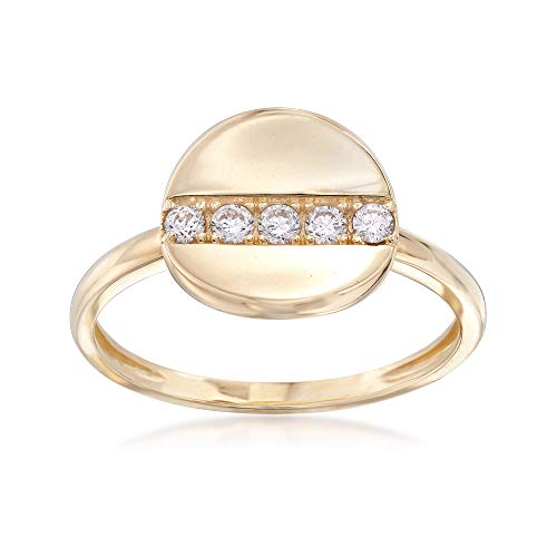 Ross-Simons 0.15 ct. t.w. CZ Concave Disc Ring in 14kt Yellow Gold ()