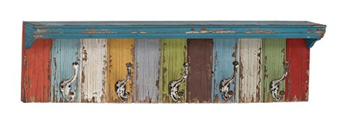 Deco 79 Wood Metal Wall Hook - distressed wood wall art decor - reclaimed wood wall art