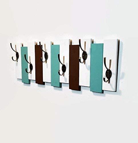 Sydney Vertical Planked Wall Mounted Coat, Clothing or Towel Rack, 6 Heavy Duty Double Hooks, Available in 20 colors : Shown in Bright White, Sea Blue & Lab Brown ()