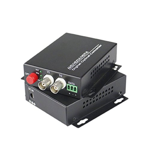 Guantai 2 Channels Video Fiber Optical Converters Transmitter/Receiver,FC, Singlemode 20Km, for CCTV Surveillance Security ()
