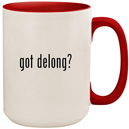 got delong? - 15oz Ceramic Colored Inside and Handle Coffee Mug Cup, Red