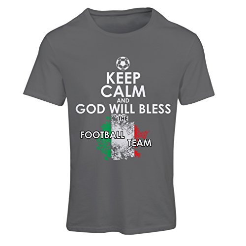 fan products of N4458F T Shirts For Women Keep Calm and God Will Bless The Italian National Football Team (XX-Large Graphite Multi Color)