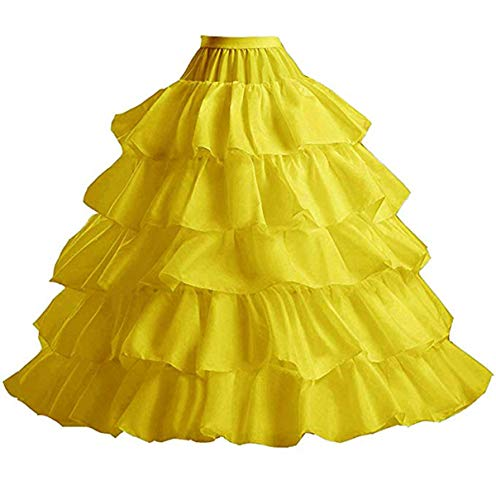 YUAKOU Women's 4-Hoop 5 Layer Wedding Petticoat Skirt Quinceanera Gown Yellow