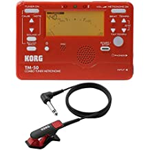 Korg TM-50 Instrument Tuner and Metronome w/Clip On Microphone In Red