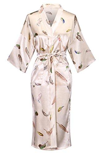 DandyChic Women's Kimono Robes Feather Print Kimono Imitation Silk Long Style by DandyChic (Image #6)