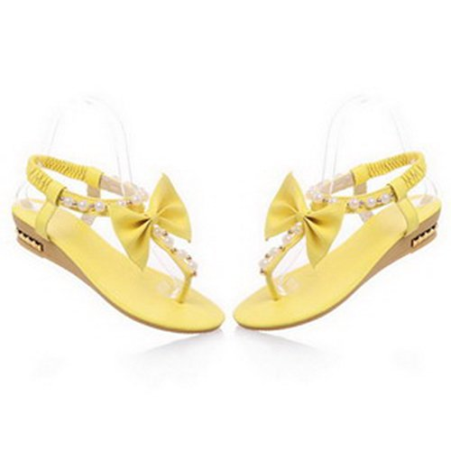 WeiPoot Women's Open Toe Thong Toe Low Heel Wedge PU Soft Material Solid Sandals with Bows and Jewels, Yellow, 5 B(M) US