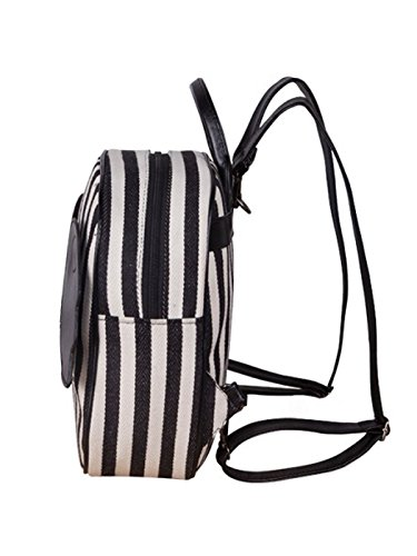 Sulida Girls Lovely Angel Wings Stripe Navy Canvas Backpack (Black)