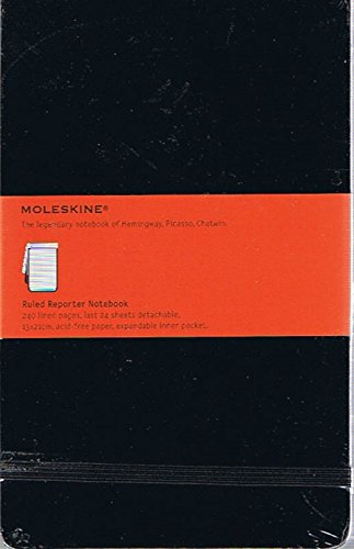 Moleskine Reporter Notebook (The Legendary Notebook of Hemingway, Picasso, Chatwin) Black, Ruled Reporter Notebook (240 Lined Pages, Last 24 Detachable, Expandable Inner Pocket)